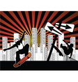 urban background with skaters vector image