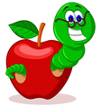 caterpillar and apple vector image