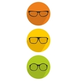 Glasses green yellow and orange icon set vector image