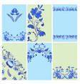 russian ornaments art gzhel style painted brochure vector image