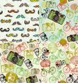 Set of 4 seamless pattern with a mustache camera vector image