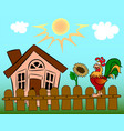 sunny day in the village vector image