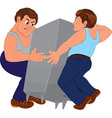 Two cartoon men in blue pants and blue tops vector image