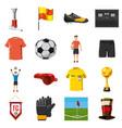 soccer icons set football cartoon style vector image