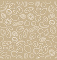 nuts seamless pattern in beige colour vector image