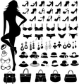 female silhouette and fashion items vector image