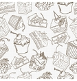 Doodle cake seamless pattern background vector image