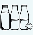Pouring a glass of milk and milk bottle vector image
