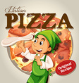 Chef and italian pizza vector image vector image
