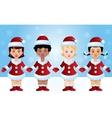 Four Santa-girls vector image
