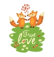 Love card with cute foxes in vector image