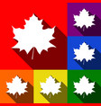 maple leaf sign set of icons with flat vector image