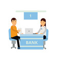 young bank consultant using laptop for advises new vector image