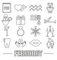 february month theme set of simple outline icons vector image