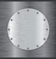 metal round plate with screw head vector image
