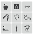 black diet icons set vector image