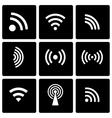 black wireless icon set vector image vector image