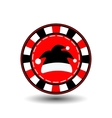Poker chip Christmas new year Santa Claus cap vector image
