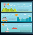 set of horizontal travel banners in flat style vector image