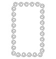 simple frame with curved swirles rectangular shape vector image