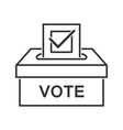 Voting paper with approved checkmark line icon vector image
