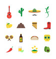 cartoon mexican culture color icons set vector image