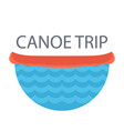 red canoe on the river concept idea for camping vector image
