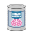 Canned brains Tin with brain food for mind vector image