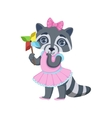 Girl Raccoon With Origami Toy vector image