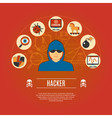 Hacker Concept Icons vector image