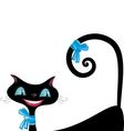 Black cat with blue eyes vector image vector image