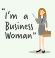 business character woman with briefcase vector image