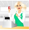 cashier pointing at a credit card vector image