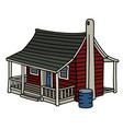classic red scandinavian planked house vector image