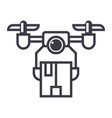 drone logistics line icon sign vector image