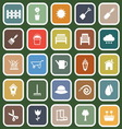 Gardening flat icons on green background vector image