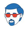 man character blue hair avatar image vector image