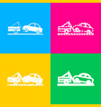 tow truck sign four styles of icon on four color vector image