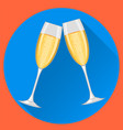 two champagne glasses on blue round background vector image