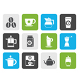 Flat coffee industry signs and icons vector image vector image