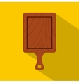 Brown wooden cutting board icon flat style vector image