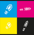footprint boot sign  white icon with vector image