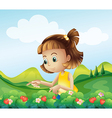 A little girl at the strawberry farm vector image