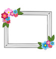 rectangular photo frame colorful flowers isolated vector image vector image