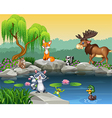 Cartoon funny animal collection on the beautiful n vector image vector image