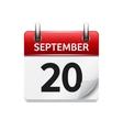 September 20 flat daily calendar icon vector image