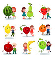 cute little kids having fun and hugging giant vector image