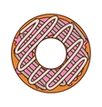 donut with spirals cream and pink glazed vector image