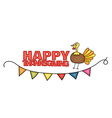 Happy Thanksgiving Day banner sign with a turkey vector image