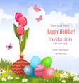 invitation card with vase of tulips and colorful vector image